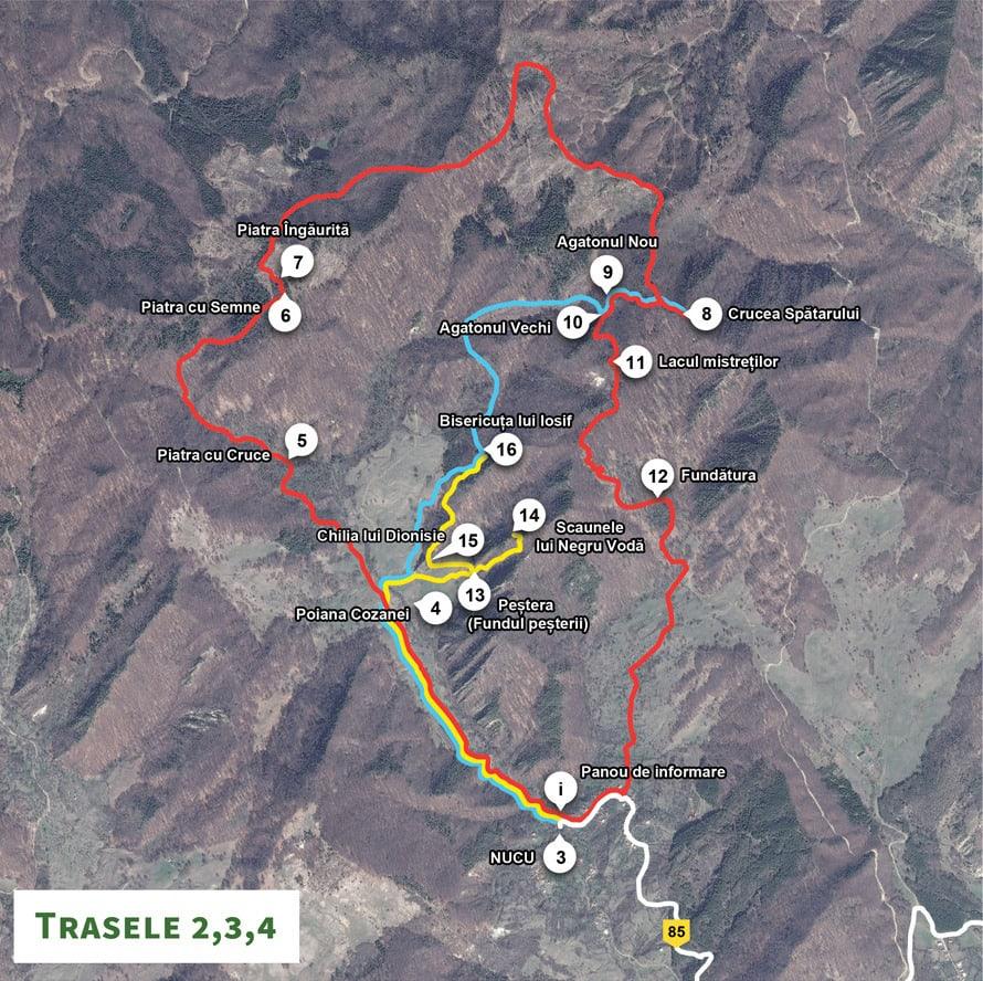 Harta trasee Așezările rupestre