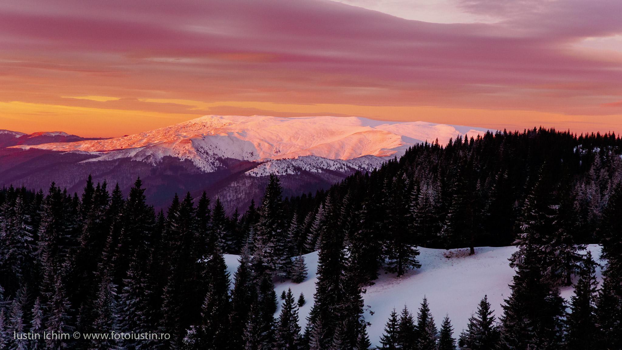 Răsărit, vedere spre munții Grohotiș