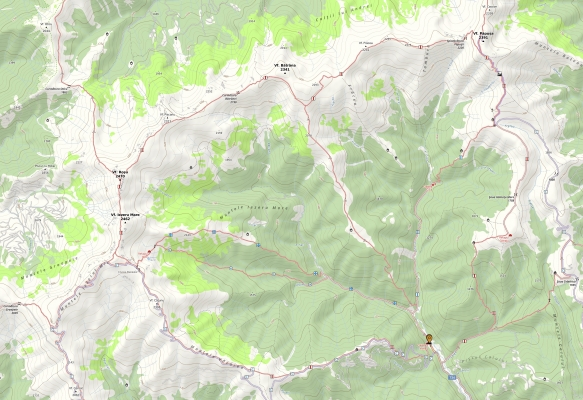 Harta trasee Muntii Iezer Papusa, click pentru zoom
